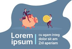 Businessman sitting on piggy box carrying euro coin growth wealth teamwork concept cartoon character full length flat vector illustration
