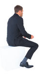 Businessman sitting put his hands front Royalty Free Stock Photography