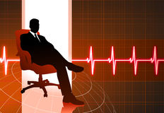 Businessman sitting red internet background Stock Photo