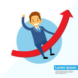 Businessman Sitting Riding on Finance Graph Arrow. Up, Concept Business Man Lead to Growth Success Chart Vector Illustration Stock Photos