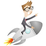 Businessman sitting on rocket Stock Images