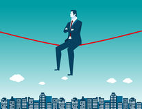 Businessman sitting on rope and city. Concept business illustration. Vector flat Stock Photos