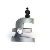 Businessman sitting on silver pound symbol with lock. Rear view of businessman sitting on silver pound symbol with lock, on white stock image