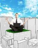 Businessman sitting on skyscraper Royalty Free Stock Images