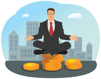Businessman sitting on stack of gold coin Royalty Free Stock Photography