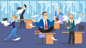 Businessman sitting on the table in lotus pose during deadline. Employee in panic. Man make meditation against stress. Flat vector illustration royalty free illustration