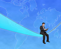 Businessman sitting on a tech cable and touch tablet with global. Map background in blue sky Stock Photos