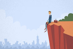 Businessman Sitting Top Cliff Rock Mountain royalty free illustration