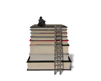 Businessman sitting on top of stack books with wooden ladder Royalty Free Stock Photos