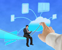 Businessman sitting and touch tablet with cloud computing backgr. Ound in blue sky Royalty Free Stock Image