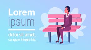 Businessman sitting wooden bench business man relax concept male cartoon character full length horizontal copy space royalty free illustration