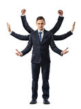 A businessman with six arms making fists, stopping and welcoming motions. Business and success. Corporate world. Response to new idea stock photos