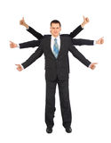 Businessman with six hands shows gesture ok Stock Photography