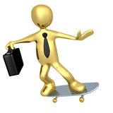 Businessman On Skateboard Stock Photo