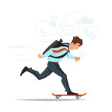 Businessman on skateboard hurrying to the office. Royalty Free Stock Photo