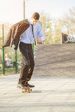 Businessman On Skateboard Stock Photography