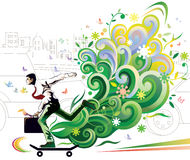 Businessman skateboarding Royalty Free Stock Photo
