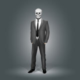 Businessman with Skull Head Stock Photo
