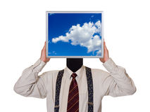 Businessman with sky computer screen Stock Image