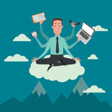 Businessman in the sky position. Businessman in the sky position meditating in peace for any spiritual and inner peace business concepts,vector illustration Royalty Free Stock Photo