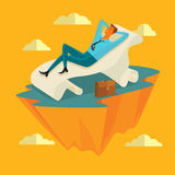 Businessman in the sky position Sleep on a long sheet of paper in peace for any spiritual and inner peace business concepts,vector Stock Photos