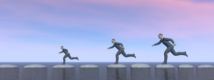 Businessman that runs on steps - 3D rendering. Businessman and sky that runs on steps - 3D rendering Stock Images