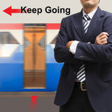 Businessman on the sky train station, Royalty Free Stock Image