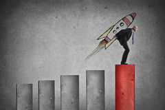 Free Businessman Skyrockets From A Graph Royalty Free Stock Image - 67524266