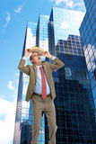 Businessman and skyscrapers Stock Photos