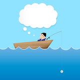 Businessman sleep and dreaming in boat use blank bubble for desi Royalty Free Stock Images
