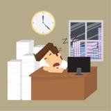 Businessman, sleep, work overtime Stock Photo