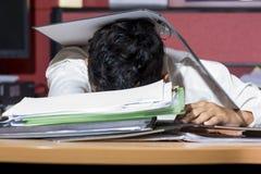 Businessman sleep during working Royalty Free Stock Photos