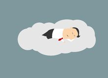 Businessman sleeping on a cloud Stock Image