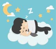 Businessman Sleeping On Clouds Stock Photo