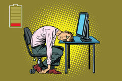Businessman sleeping at the computer. Fatigue at work. Pop art retro vector illustration Royalty Free Stock Images