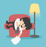 Businessman sleeping on the couch, exhausted. Vector eps .10 stock illustration