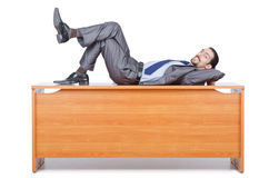 Businessman sleeping at  desk Stock Photos