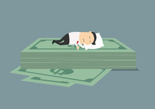 Businessman sleeping on dollar money stack Stock Photos