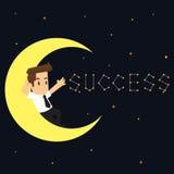 Businessman sleeping on the moon. Write successful Stock Photo