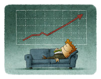 Businessman sleeping on sofa against of successful graph Royalty Free Stock Photography