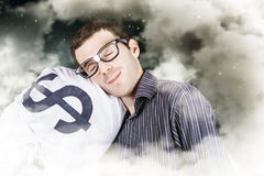 Businessman sleeping sound on investment security Royalty Free Stock Photos