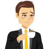 Businessman Sleepy Drinking Coffee Stock Photos