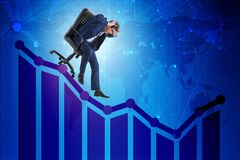 The businessman sliding down on chair in economic crisis concept. Businessman sliding down on chair in economic crisis concept Royalty Free Stock Photos