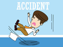 Businessman slipping on a floor. Funny flat vector concept Royalty Free Stock Photo