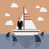Businessman on small boat with shark in the sea Stock Image