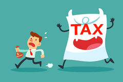 Businessman with small income running away from tax paper monste. Illustration of businessman with small income running away from tax paper monster Stock Photos