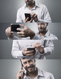 Businessman with smart phone, photo collage Stock Photo