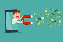 Businessman on smart phone screen use magnet to attract money. Businessman on smart phone screen holding large magnet to attract money. Digital marketing Stock Image