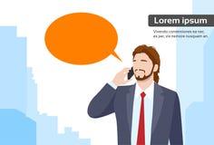 Businessman Smart Phone Talk Chat Bubble. Communication Flat Vector Illustration Stock Images