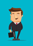 Businessman and smart real estate investor looking sharp and holding briefcase illustration Stock Photography